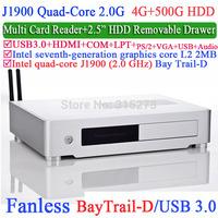 Aluminum Slim Mini-ITX HTPC with Intel Quad-Core J1900 Bay Trail-D 2.0Ghz USB 3.0 COM LPT DirectX 11.0 4G RAM 500G HDD