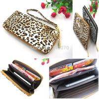 Fashion women wallet high quality PU leather leopard grain zipper lady purse clutch wallets coin purses handbag cards holder bag