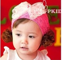G017 2014 children new pearl big bowknot hairpin headdress Baby hair hoop hair hair band wide lace flowers