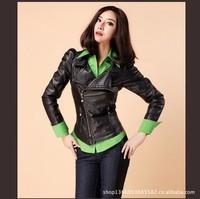 2014 New Fashion Spring Female Short Small Leather Jacket Pu Slim Korean Women's  Locomotive Plus Size Jacket QZP19