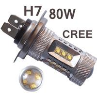 2pcs/lot 80W H7 High Power cree Xenon White Headlight Led H7 H8 H11 H16 9005 Vehicles Car Fog Lights Bulbs H4 HB3 9006 HB4 1156