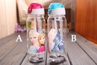 wholesale 10pcs/lot FROZEN drink bottle cartoon straw cups children sports water bottle plastic cute cup gifts free shipping