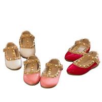 NEW Princess summer flat shoes children's girls rivets single shoes kids fishermen leather shoes girls single shoes sandals