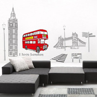 1 Set Removable PVC Decals London Bus With Big Ben I Love London Wall Sticker For Bedroom Art Wall Decoration