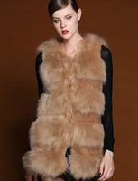 2014 winter latest European style long ostrich feather turkey feather fur vest wool vest wool coat-G048
