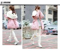 SWEET!! New Crystal Buckle Sheepskin Snow Boots Wool Fur In One Waterproof White knee-high Women Snow Shoes Geniune Leather