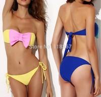 Bikini Set Women Fashion Sexy Swimsuit Ladies' Swimwear Beachwear women blue Bow hit the color Bra free shipping 1 set
