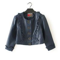 2014 New Fashion European And American New Slim Crew Neck Pu Fungus Lace Leather Jacket LZP2