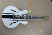 Free shipping wholesale G custom es-335 Jazz Hollow Electric Guitar signature black and white models guitar huahui2