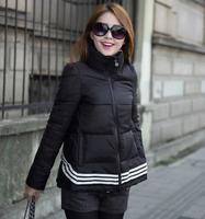 WWY23 2014 New Winter Jacket Coat Black Organza Cape Stand Collar Down Jacket Women