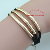 20pcs/lot European Fashion OL Ladies Multilayer leather Rope Copper Tube Bracelet Jewelry Accessories for Women,Black Color