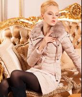 WWY25 2014 Women'S Winter Coat Big Raccoon Fur Collar Down Jacket Fashion Women'S Slim Down Jacket