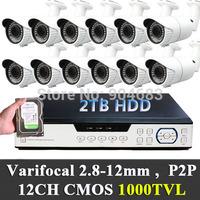 2TB HDD 12Ch Plug&play CMOS 1000TVL Outdoor waterproof 2.8-12mm varifocal CCTV Cameras DVR system Kit  video P2P