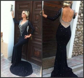 Mermaid formal evening dress beaded long sleeve backless long black