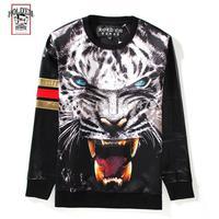 2014 autumn new Holdem Denim men's hoody 3D tiger print clown gold PULLOVER sweater casual Sweatshirts PU leather brand tag