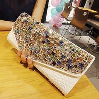 2014 fashion chain clutch bag with diamond women's handbag messenger bag day clutch shoulder bag genuine leather evening bag