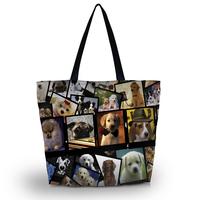Dogs Travel Shopping Tote Beach Shoulder Carry Hobo Bag Women Handbag Washable