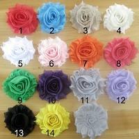"Free DHL Shipping NEW 2.5"" Frayed Chiffon Rose Trim Shabby Chiffon Flowers Hair Accessories 500Pcs/lot  DF18"