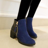 new fashion ankle boots punk boot.low-heeled Shoes.sexy party shoes.zip rivet short boots drop shipping  lb1012