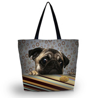 Cute Pug Soft Foldable Tote Women's Shopping Bag Shoulder Carry Bag Lady Handbag