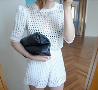 2014 women cutout sweater half sleeve top +shorts pants two pieces/set  sports suit women