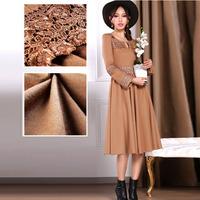 wholesale 2014 Autumn women Vintage lace embroidery slim fit swing hem woolen dress