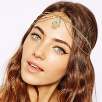 wholesale Fashion gold alloy chain turquoise hamsa hand charm women's head bands hair accessories crown jewelry bandeaux bandas