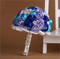 New Romantic Fashion blue rose flowers wedding bouquet Luxurious bride bouquet wedding accessories