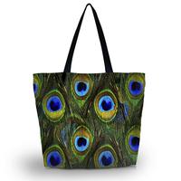 Peacock Fether Soft Foldable Tote Women's Shopping Bag Shoulder Bag Lady Handbag