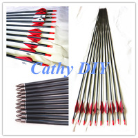 "6pcs 30"" carbon fiber arrow for recurve bow traditional bow outdoor arrow Archery hunter hunting arrow threaded tips"
