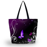 Purple Butterfly Foldable Tote Women's Shopping Bag Shoulder Bag Lady Handbag