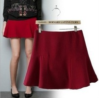 fashion Sexy short Pleated Wool Mini Skirt solid color pleated woolen bust skirt short skirt black red color