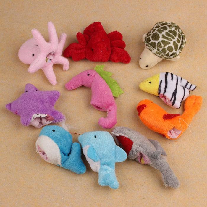 Moodeosa 10Pcs Ocean Soft Animal Puppet Baby Girl Boy Finger Toys Plush Toy Free shipping &wholesale(China (Mainland))
