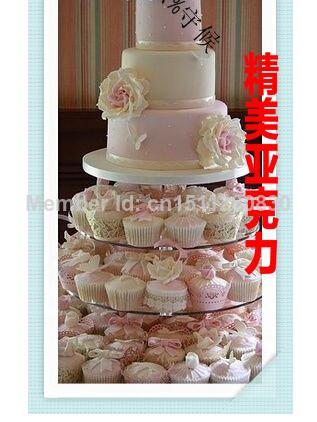 Round bag mail specials custom 5 tier Acrylic wedding cake Champagne wine show acrylic cupcake stand(China (Mainland))
