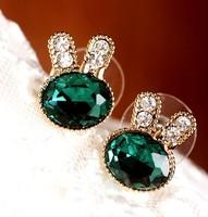 E000331 rabbit control and retro cute green delicate glitters sapphire rabbit Earrings