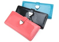 Fashion japanned leather candy bright color plaid women's short design wallet free shipping