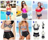 High Waist Bikini Polka Dot Pattern Charm Halter Push Up Women High Waist Bathing Suit Swimwsuit