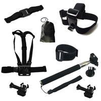 Gopro SJ4000 Black Chest Belt+WiFi Remote Wrist Belt+Head Strap+Helmet Strap+Bag+Handheld Monopod Mount for Gopro HD Hero 3