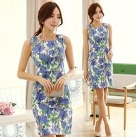 New Fashion 2014 summer dress OL temperament sleeveless Stretch printed dress plus size For Women Fashion Wear  NL55