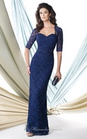 Lace Navy Blue Mother Of The Bride Dresses With Beaded Waistband Sweetheart Neckline 3/4 Sleeve Floor Length Long