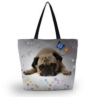 Cute Pug Soft Foldable Tote Women's Shopping Bag Shoulder Bag Lady Handbag Pouch