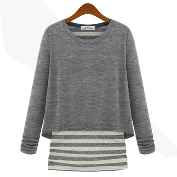 MOLE 2014 New Arrival O-Neck Knitted Sweaters Lady Long Sleeve Striped Sweater Pullovers Brand Women Sweater(China (Mainland))