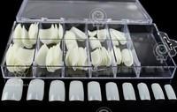 100pcs/case Natural Milk White Acrylic Artificial False Full Fake Nails Art Tips DIY With Case Free Shipping