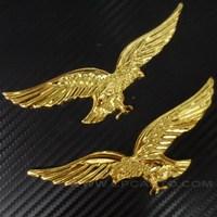 Car Truck Chrome Badge Emblem Sticker Metal Flying Eagle 3D logo 2pcs set Gold