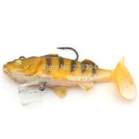 """Free Shipping 10Pcs  Lifelike Yellow Silicone Soft Fishing Lure Swimbait Bait, Bass Grouper Catfish Killer Bait 4.33""""/0.93oz"""