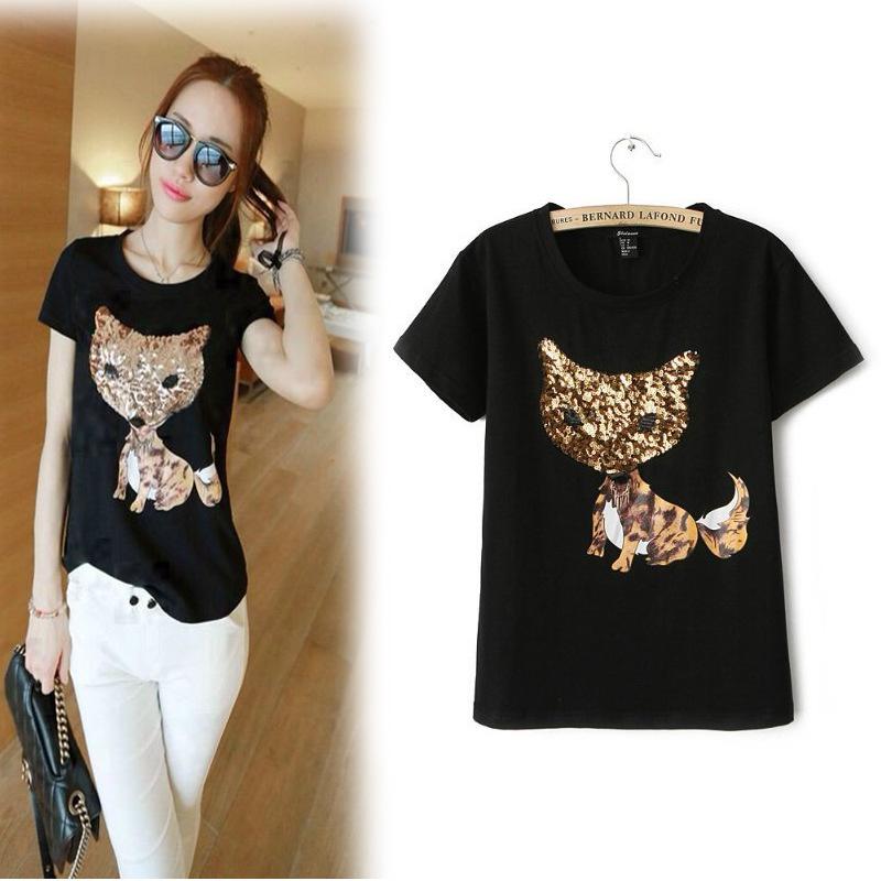 KA-KA 2014 Amoi Korean fox sleeves bottoming pattern sequined T-shirt Women(China (Mainland))