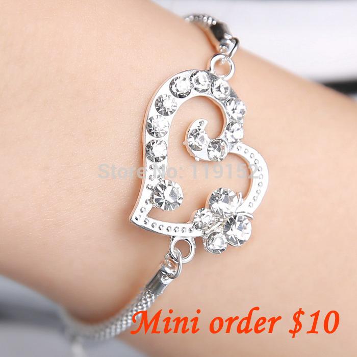 (Mini order $10)2014 valentine day Fashion crystal bracelet sweet clear rhinestone bracelet jewelry ! cRYSTAL sHOP(China (Mainland))
