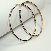 18K GP Fashion Use  Crystal 2.5'' Large Hoop Earrings