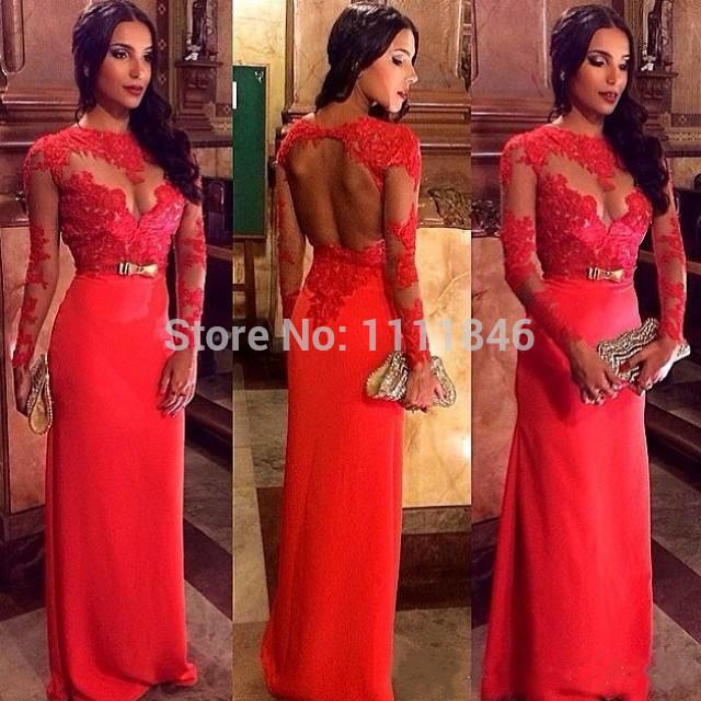 vestido de festa sexy 2014 sheer scoop neck long sleeves red evening gown hollow back sheath custom made prom dresses brand new(China (Mainland))