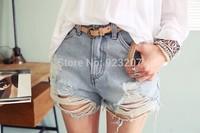 2014 Women Shorts Femininos Vintage Mid Waist Short Girls Ripped Hole Punk Rock Jeans Distress Cutoffs Ladies denim Pants